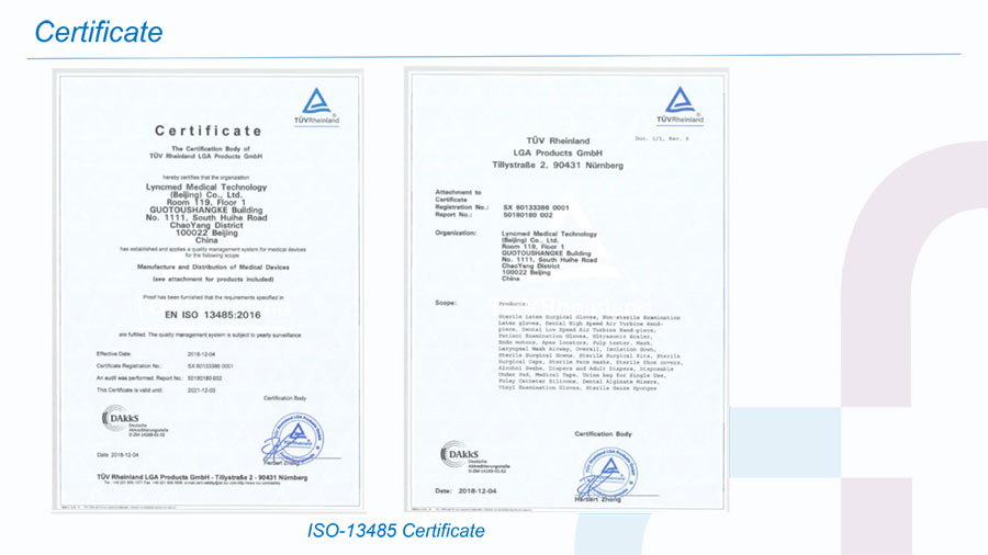 Face shield certificate